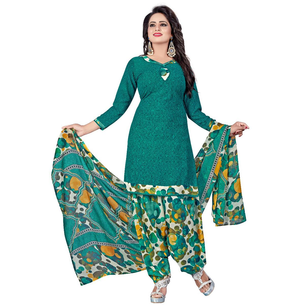Elegant Turquoise Green Colored Casual Wear Printed Crepe Salwar Suit