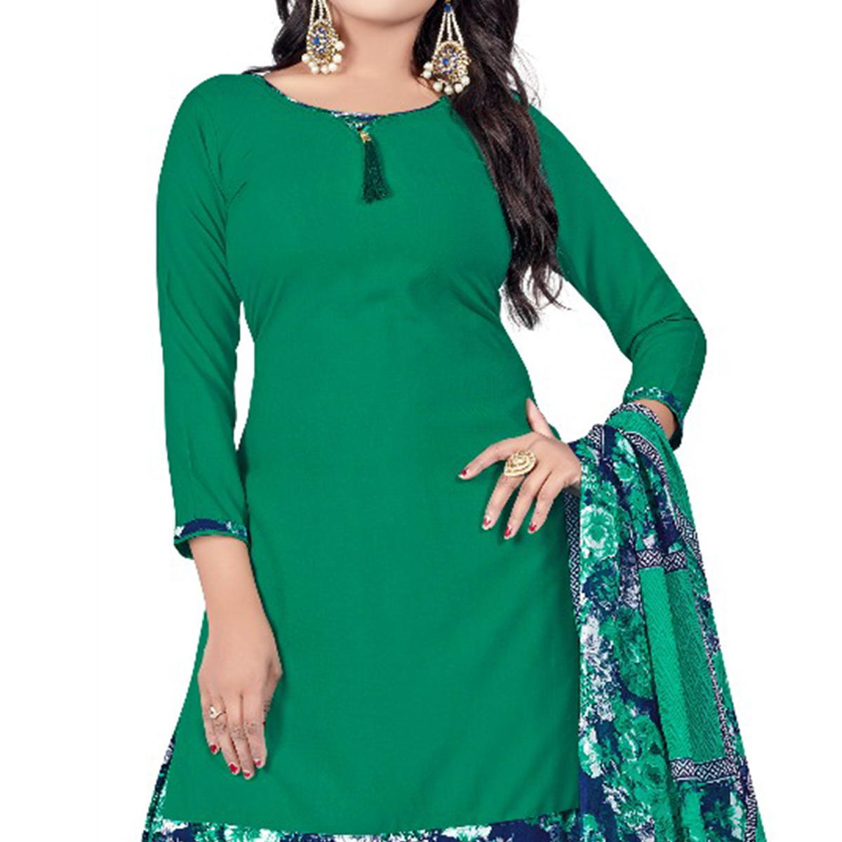 Radiant Green Colored Casual Wear Printed Leon Salwar Suit