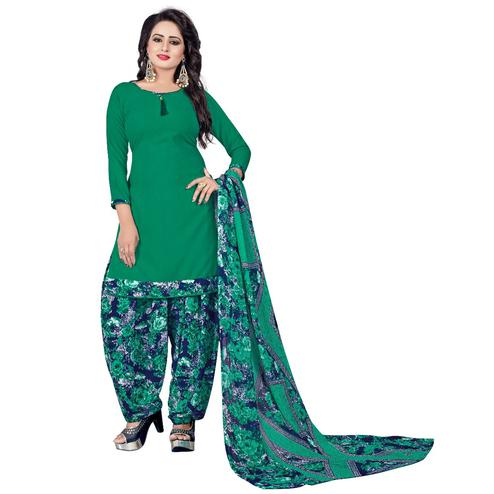 Radiant Green Colored Casual Wear Printed Crepe Salwar Suit