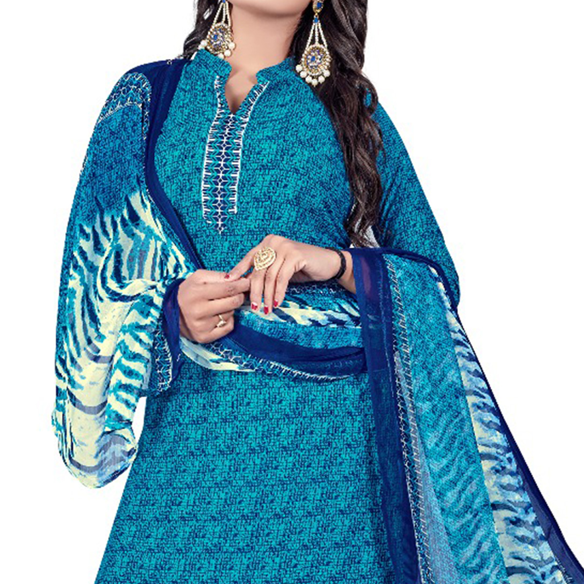 Opulent Sky Blue Colored Casual Wear Printed Crepe Salwar Suit