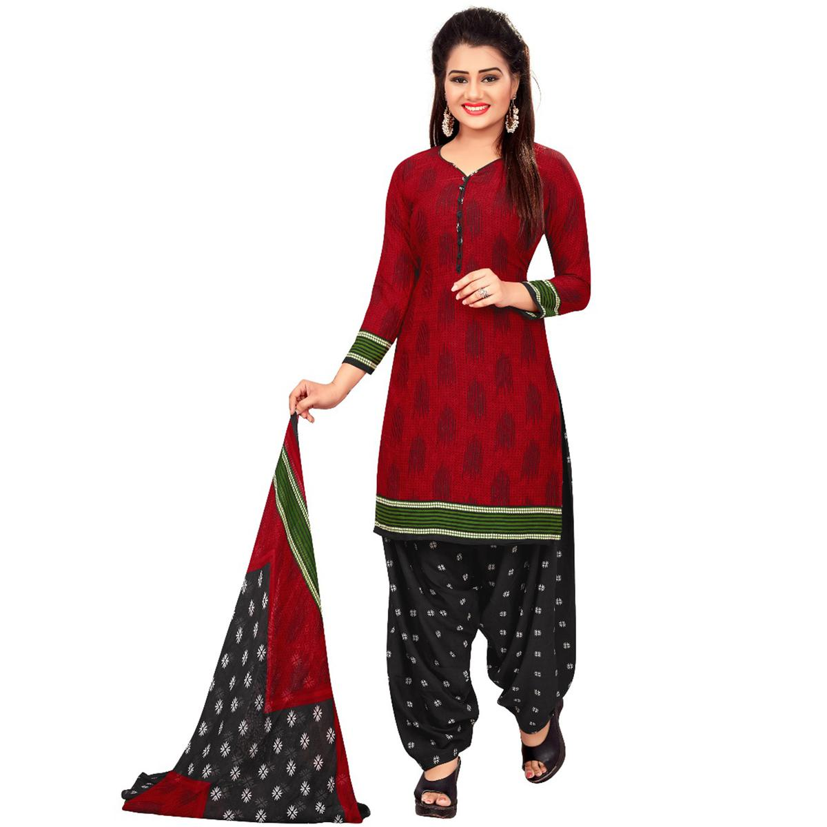 Dazzling Red Colored Casual Wear Printed Crepe Salwar Suit