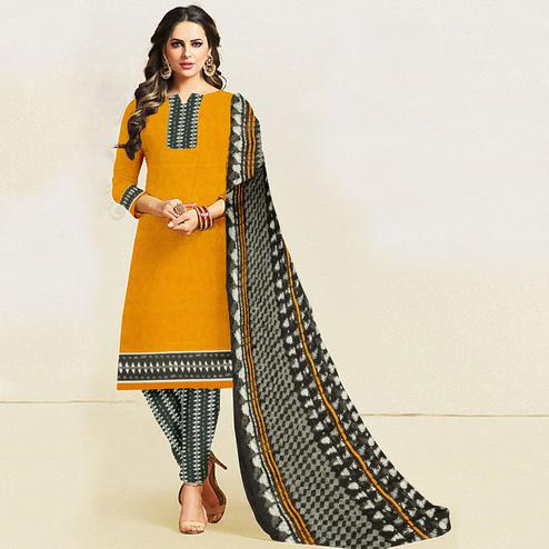 Breathtaking Mustard Yellow Colored Casual Wear Printed Leon Salwar Suit