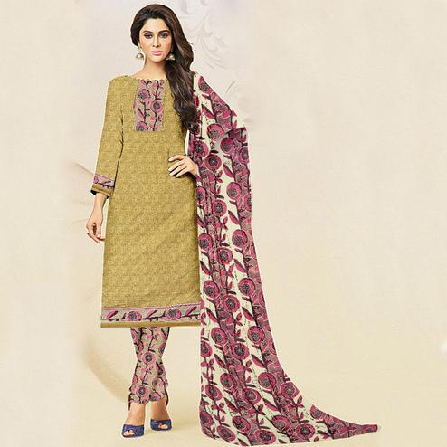 Impressive Beige Colored Casual Wear Printed Crepe Salwar Suit