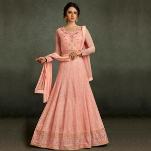 Desirable Pink Colored Partywear Embroidered Georgette Anarkali Suit