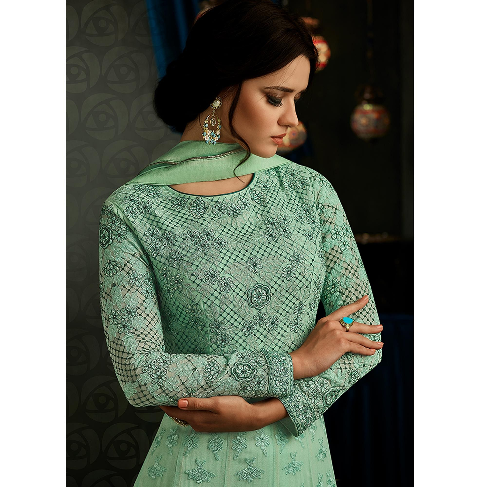 Refreshing Turquoise Green Colored Partywear Embroidered Georgette Anarkali Suit