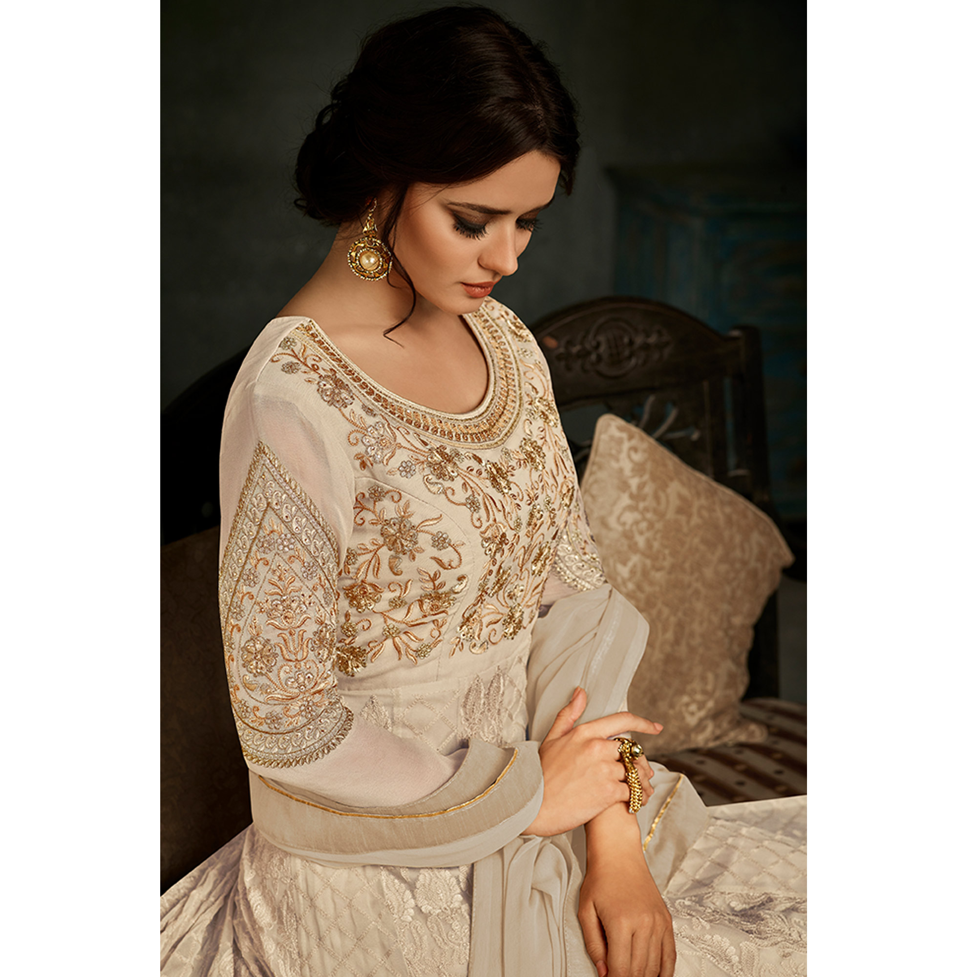Impressive Off-White Colored Partywear Embroidered Georgette Anarkali Suit