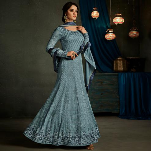 Unique Blue Colored Partywear Embroidered Georgette Anarkali Suit