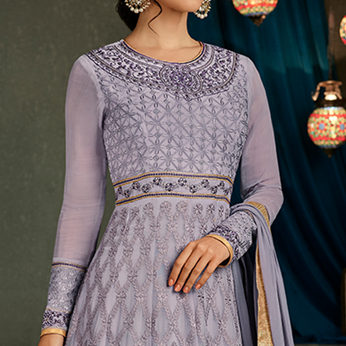 Beautiful Lavender Colored Partywear Embroidered Georgette Anarkali Suit