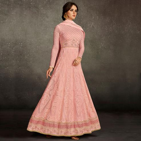 Blooming Pink Colored Partywear Embroidered Georgette Anarkali Suit