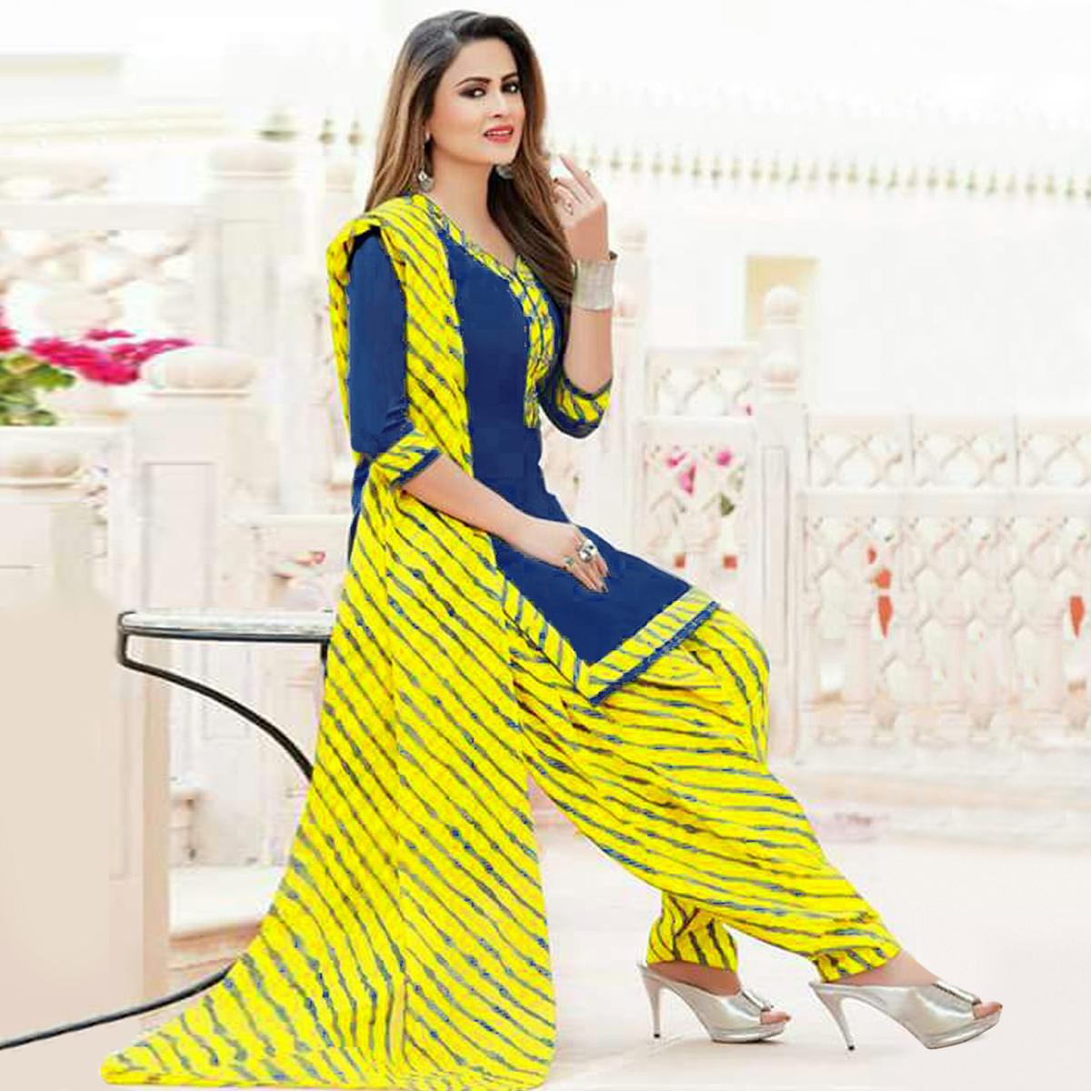 Innovative Blue Colored Casual Wear Printed Crepe Salwar Suit