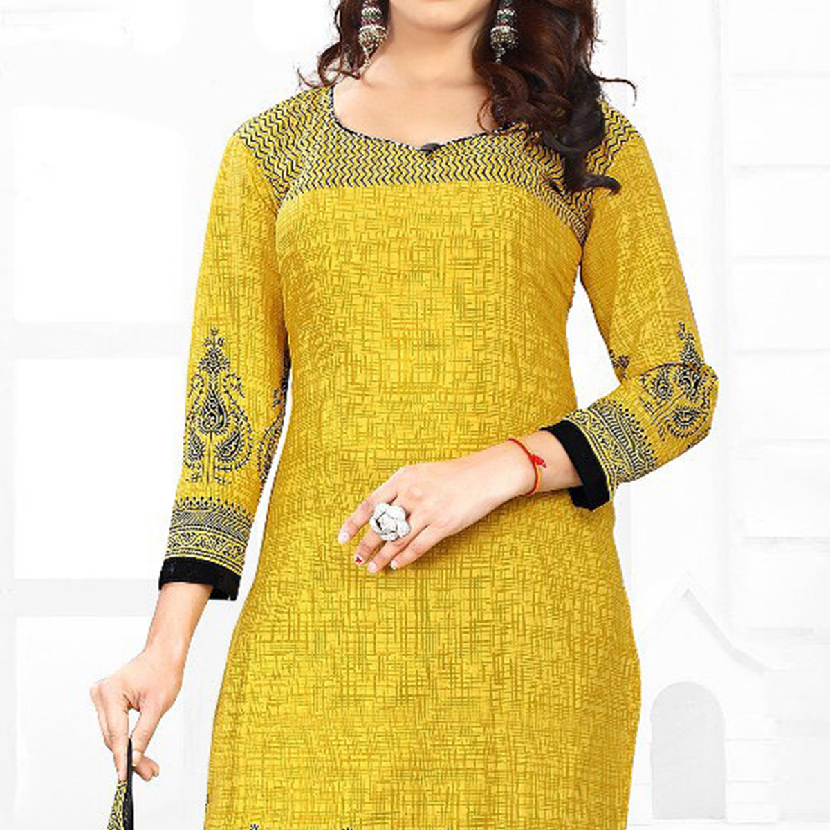 Gleaming Yellow Colored Casual Wear Printed Crepe Salwar Suit