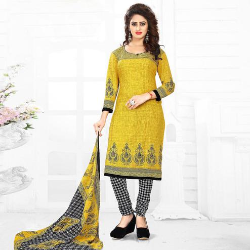Gleaming Yellow Colored Casual Wear Printed Leon Salwar Suit