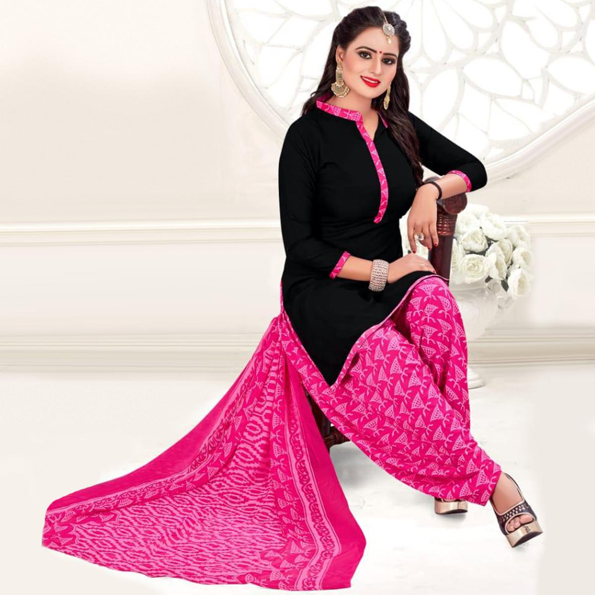 Excellent Black-Pink Colored Casual Wear Printed Crepe Salwar Suit
