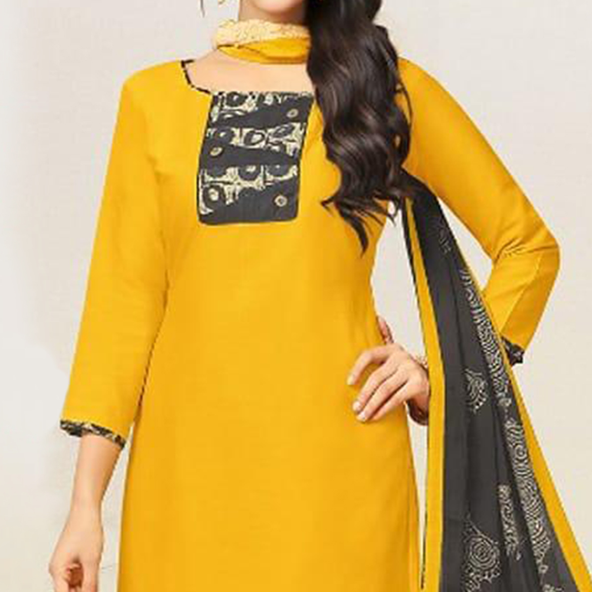 Imposing Yellow Colored Casual Wear Printed Crepe Salwar Suit