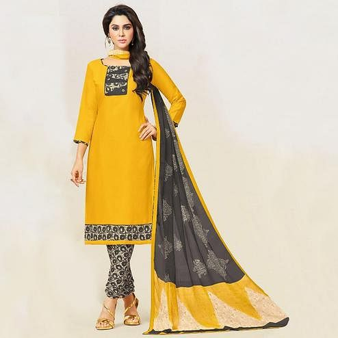 Imposing Yellow Colored Casual Wear Printed Leon Salwar Suit