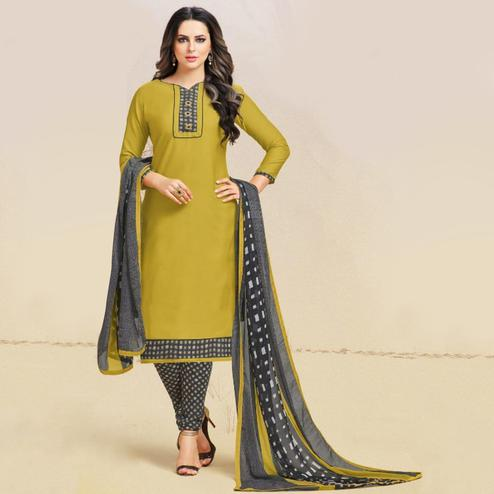 Blissful Olive Green Colored Casual Wear Printed Leon Salwar Suit
