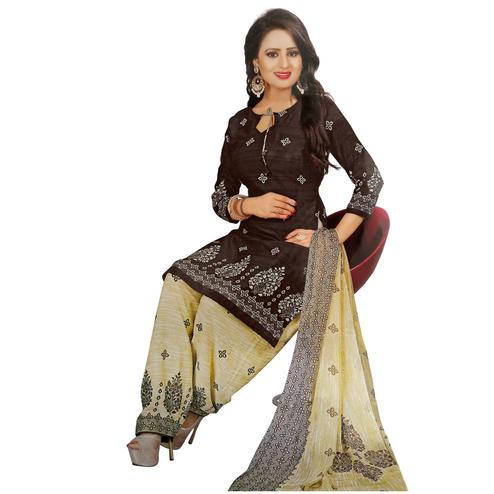 Ideal Dark Brown Colored Casual Wear Printed Crepe Salwar Suit