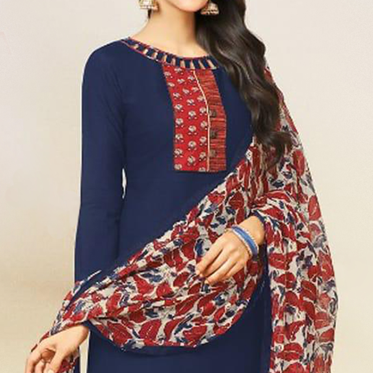 Fantastic Navy Blue Colored Casual Wear Printed Crepe Salwar Suit