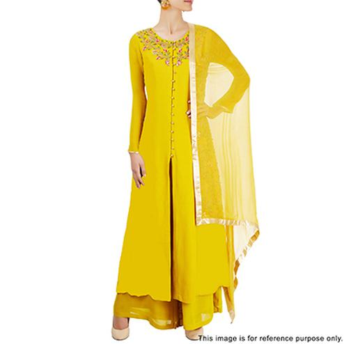 Alluring Yellow Partywear Designer Embroidered Faux Georgette Salwar Suit
