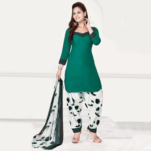 Staring Green Colored Casual Wear Printed Leon Salwar Suit