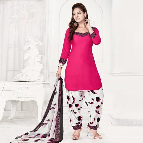Jazzy Pink Colored Casual Wear Printed Leon Salwar Suit
