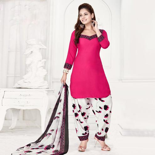 Jazzy Pink Colored Casual Wear Printed Crepe Salwar Suit