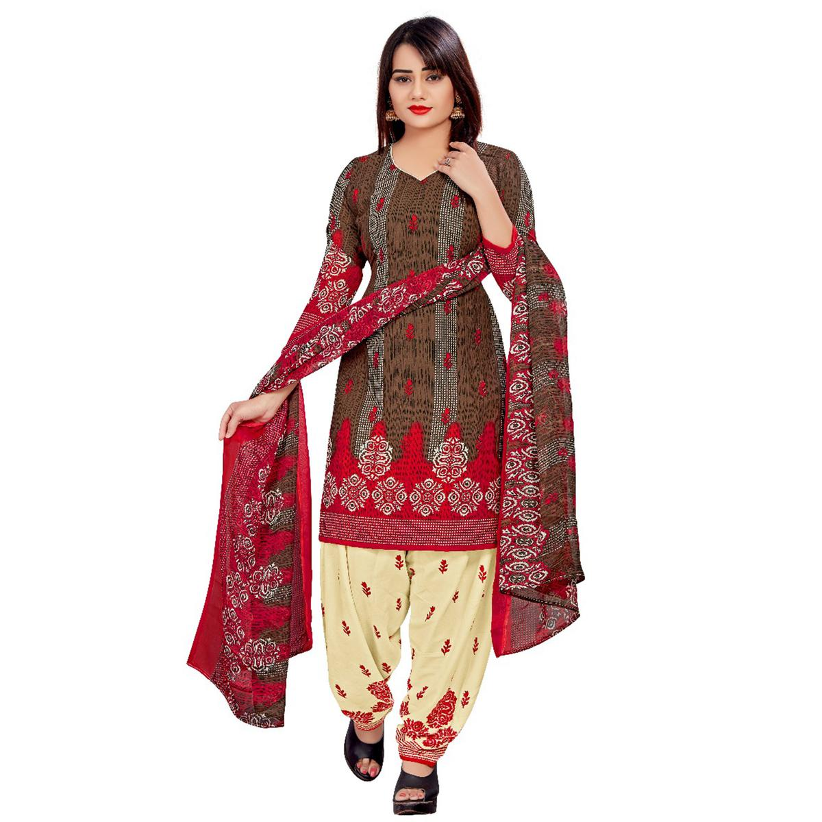 Prominent Brown Colored Casual Wear Printed Crepe Salwar Suit