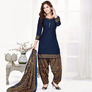 Adorning Navy Blue Colored Casual Wear Printed Crepe Salwar Suit