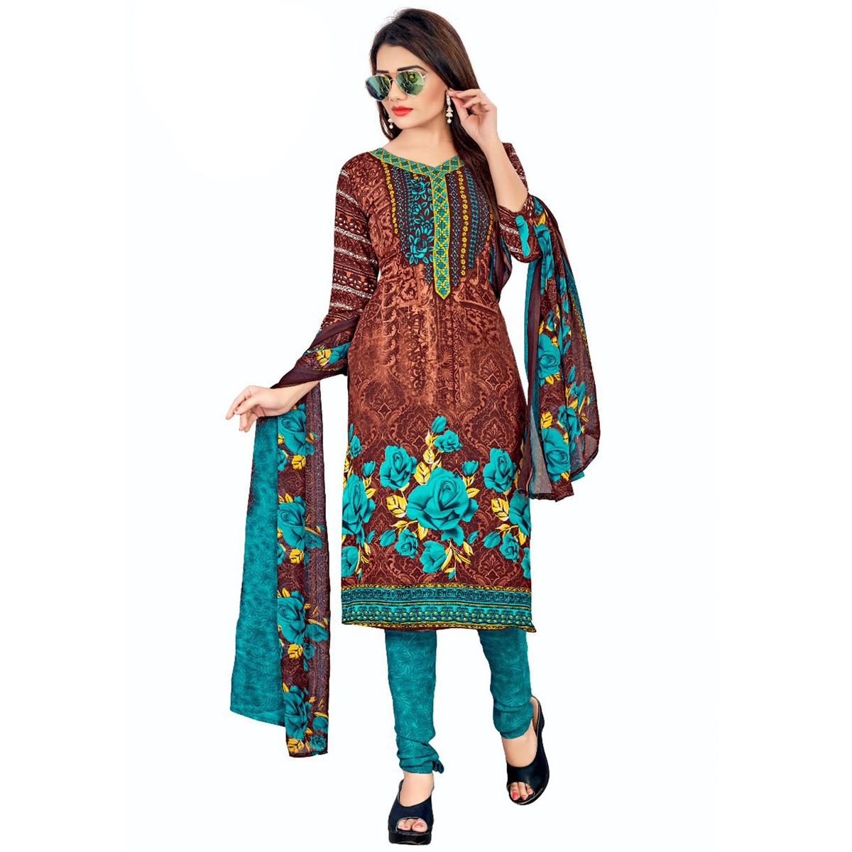 Captivating Brown Colored Casual Wear Printed Crepe Salwar Suit