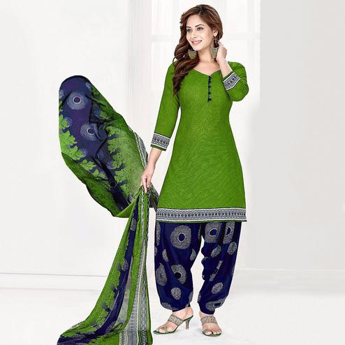 Flirty Green Colored Casual Wear Printed Crepe Salwar Suit