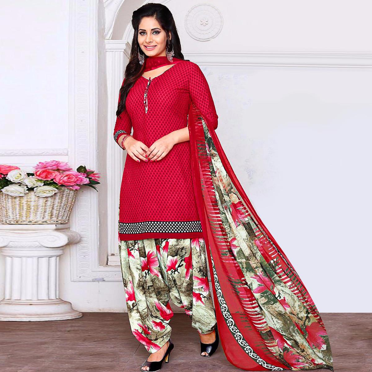 Trendy Pink Colored Casual Wear Printed Crepe Salwar Suit