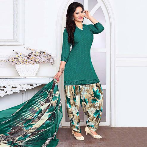 Elegant Rama Green Colored Casual Wear Printed Crepe Salwar Suit