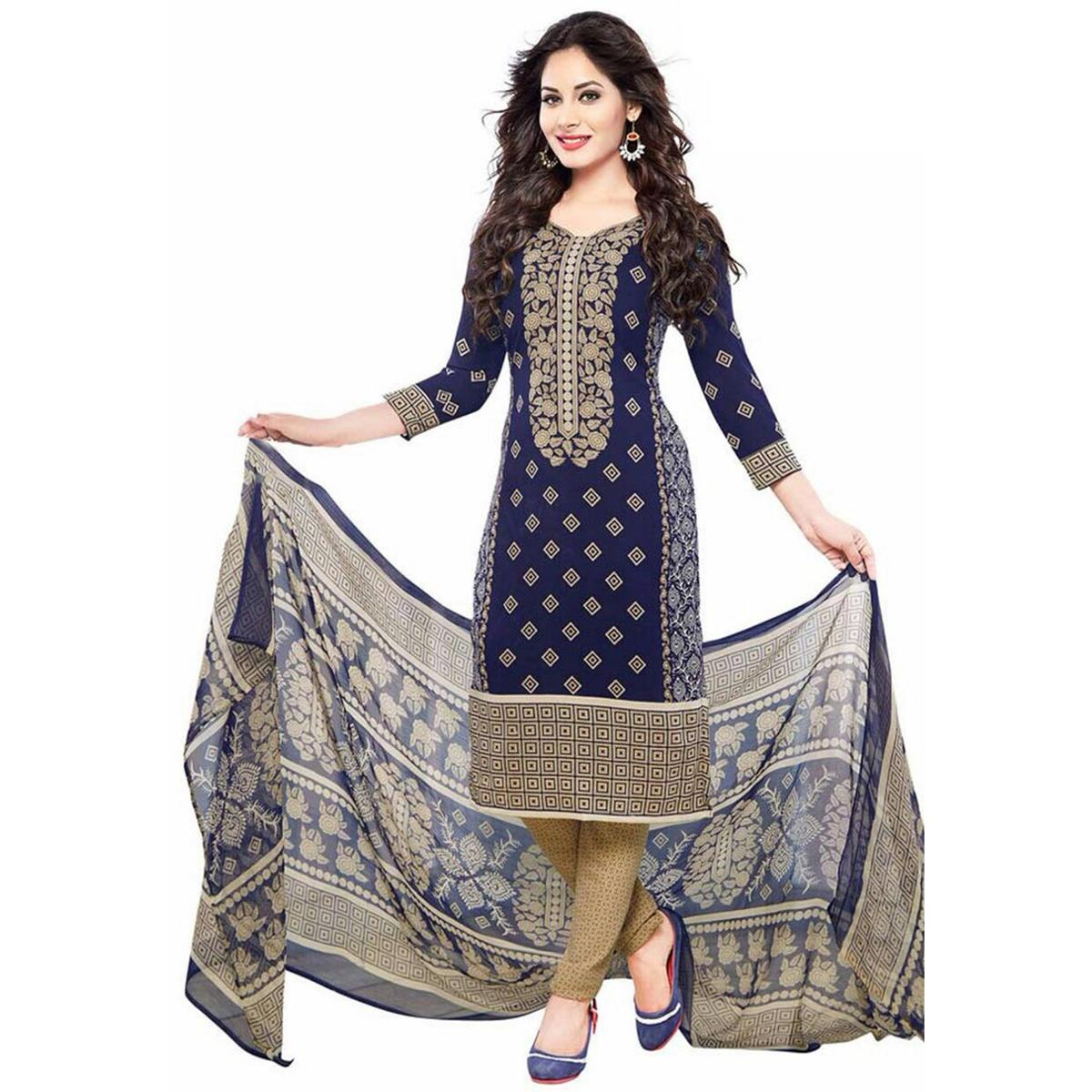 Alluring Navy Blue Colored Casual Wear Printed Crepe Salwar Suit