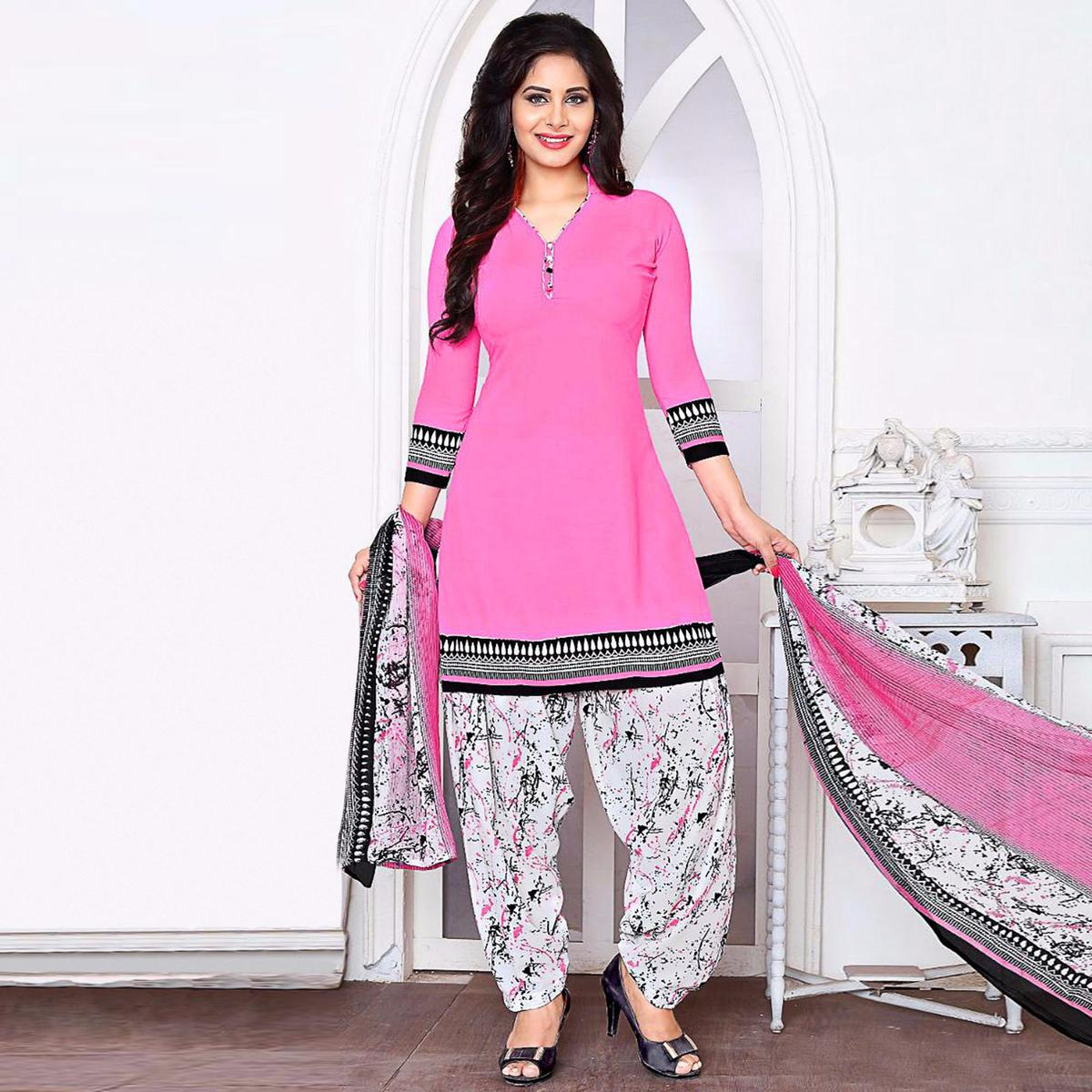 Radiant Pink Colored Casual Wear Printed Crepe Salwar Suit