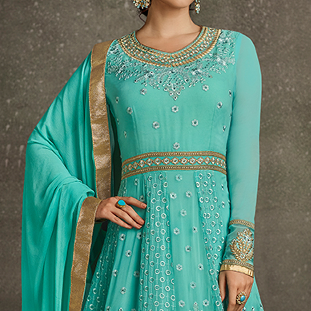 Glowing Sky Blue Colored Partywear Embroidered Georgette Anarkali Suit