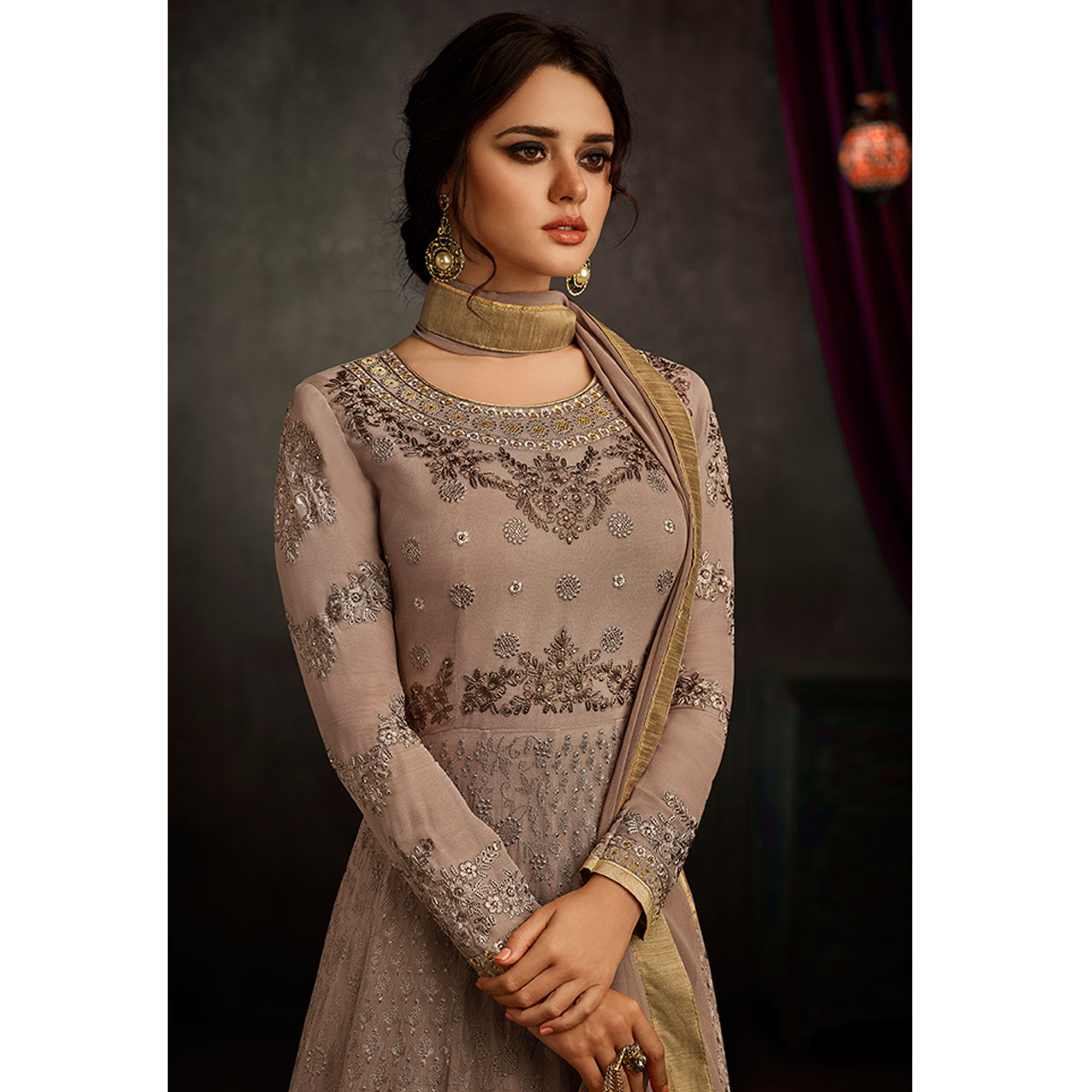 Desirable Light Brown Colored Partywear Embroidered Georgette Anarkali Suit
