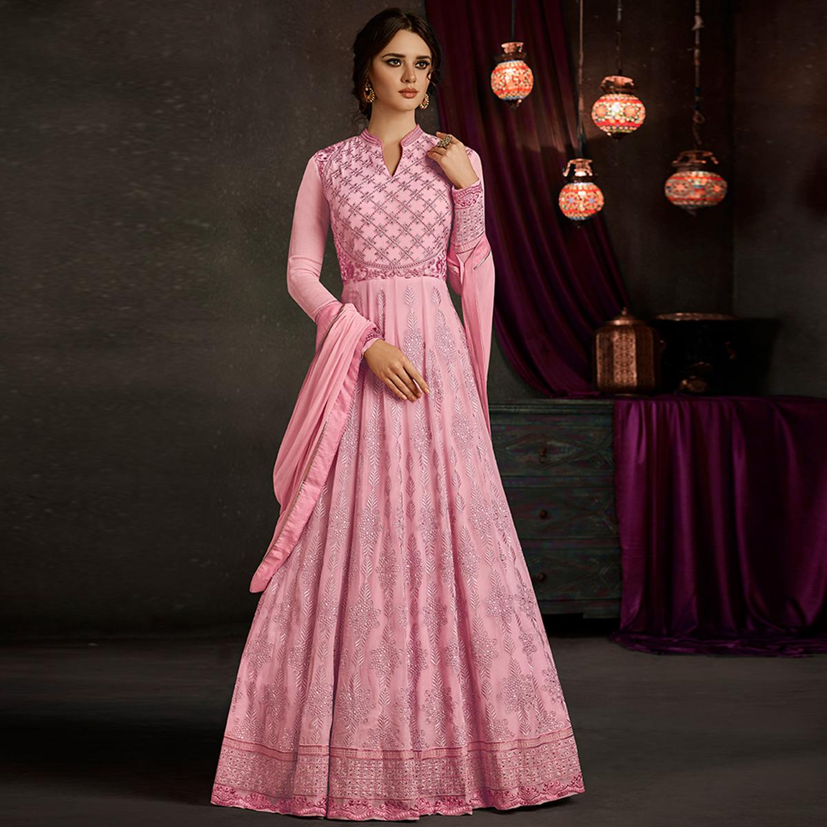 Demanding Pink Colored Partywear Embroidered Georgette Anarkali Suit