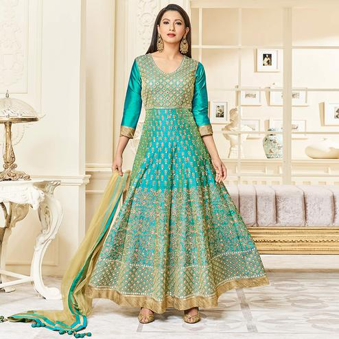 Blissful Cyan Colored Party Wear Embroidered Mulberry Silk Anarkali Suit