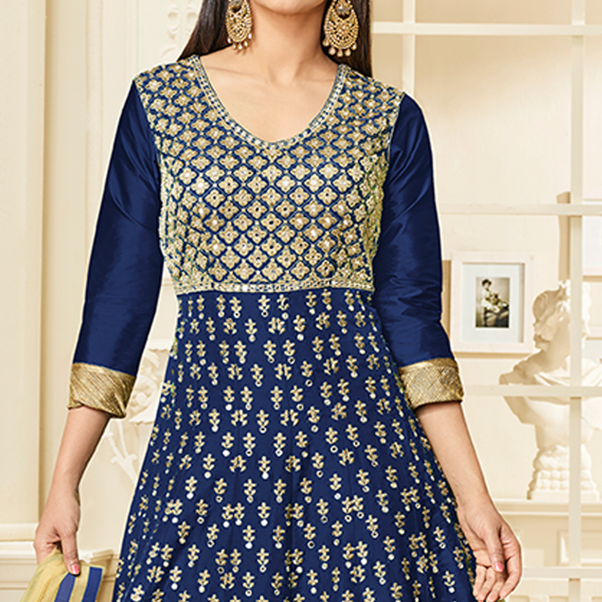 Pleasance Navy Blue Colored Party Wear Embroidered Mulberry Silk Anarkali Suit