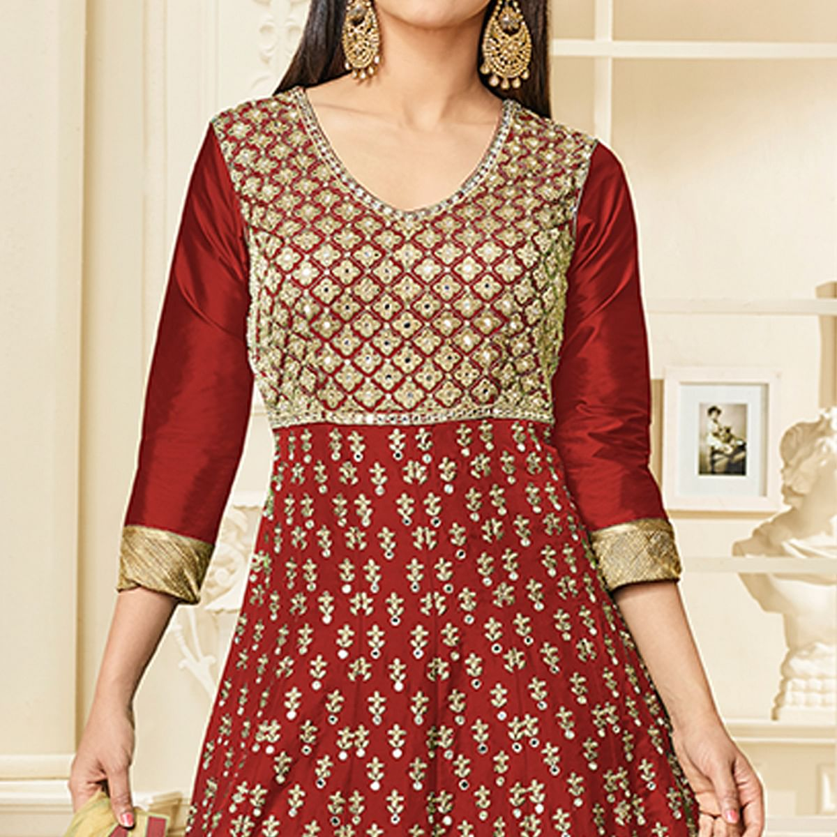 Engrossing Maroon Colored Party Wear Embroidered Mulberry Silk Anarkali Suit