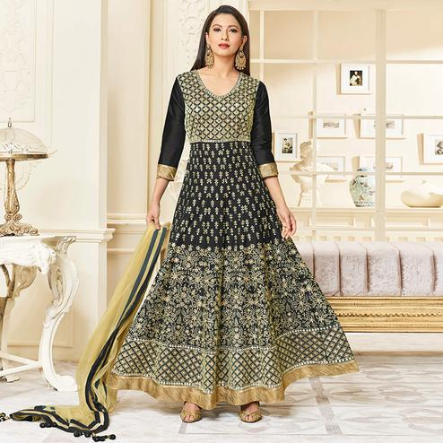 Fantastic Black Colored Party Wear Embroidered Mulberry Silk Anarkali Suit