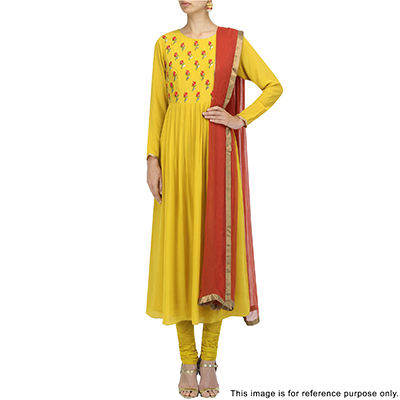 Classy Yellow Partywear Designer Embroidered Faux Georgette Salwar Suit
