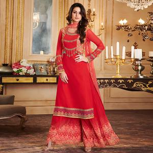 Prominent Red Colored Party Wear Embroidered Georgette Palazzo Suit