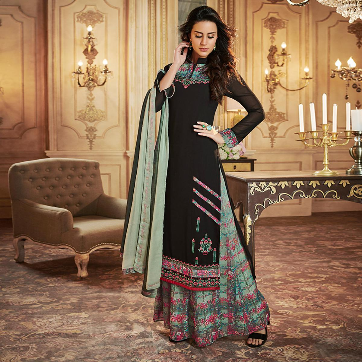 869eb87286128 Buy Capricious Black Colored Party Wear Embroidered Georgette Palazzo Suit  For womens online India