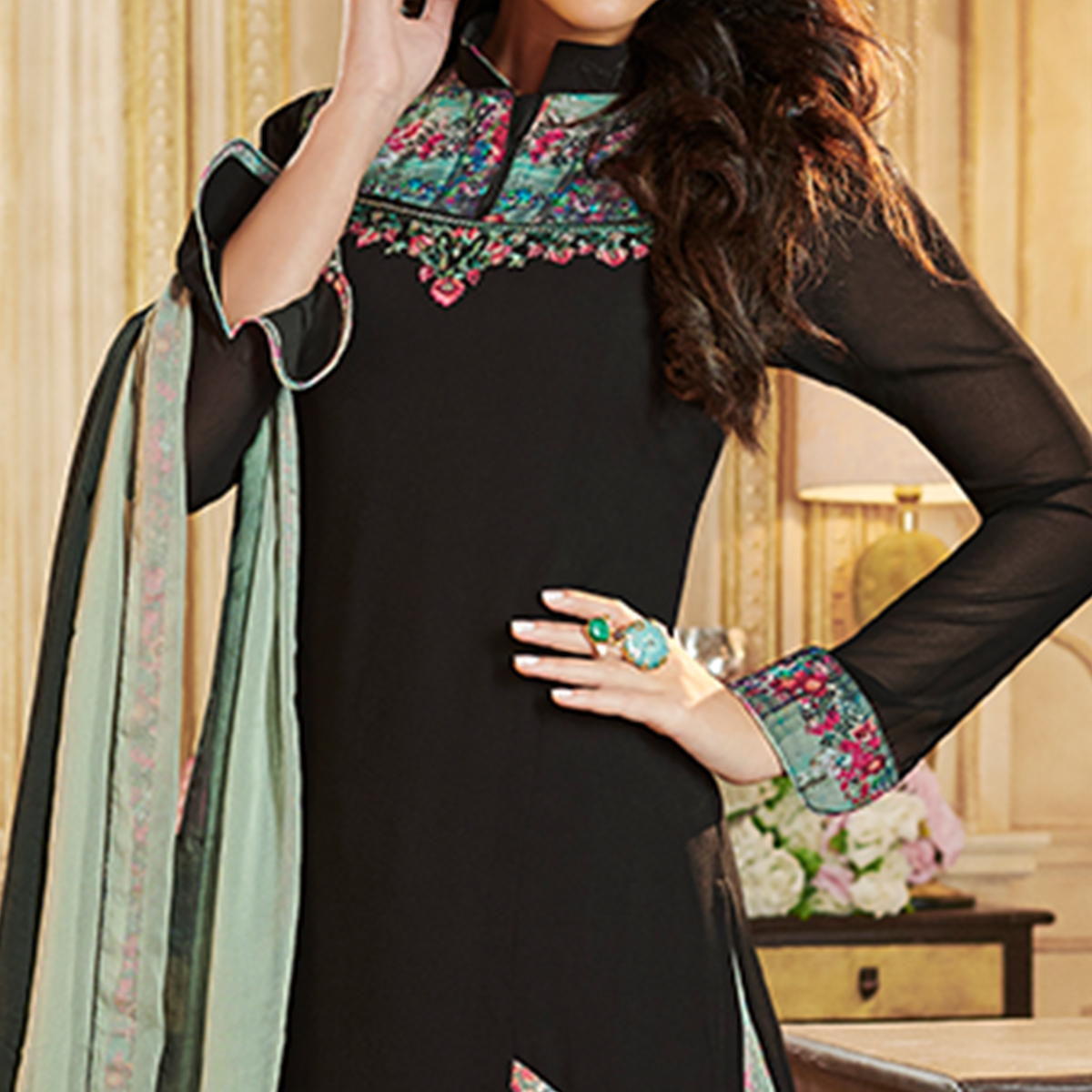 Capricious Black Colored Party Wear Embroidered Georgette Palazzo Suit