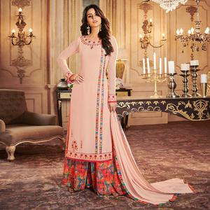 Adorning Peach Colored Party Wear Embroidered Georgette Palazzo Suit