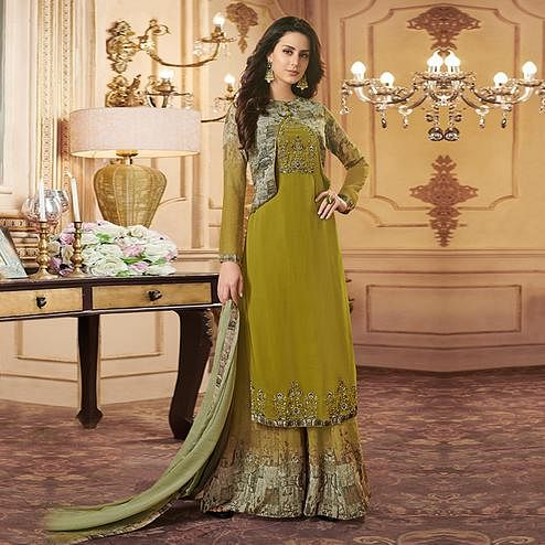 4a138f57e3 Captivating Mehendi Green Colored Party Wear Embroidered Georgette Palazzo  Suit