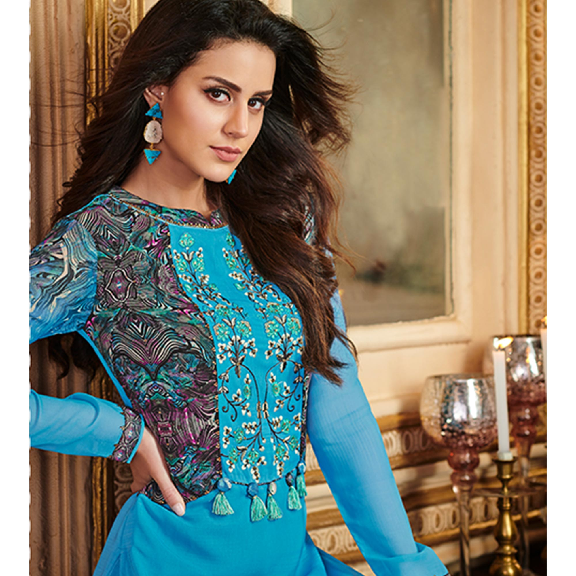 Hypnotic Sky Blue Colored Party Wear Embroidered Georgette Palazzo Suit
