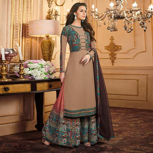Trendy Beige Colored Party Wear Embroidered Georgette Palazzo Suit