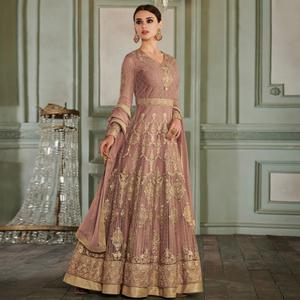 Exceptional Mauve Colored Partywear Embroidered Netted Anarkali Suit